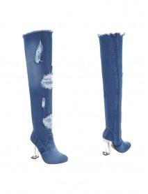 Дамски чизми denim с прозрачен ток Sergio Todzi