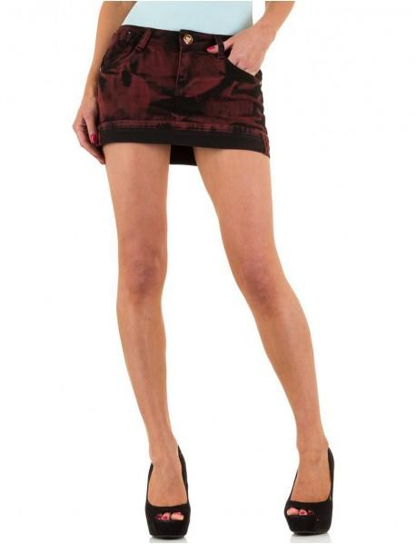Дамска дънкова пола в червено