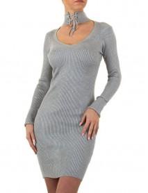 Кокетна дамска рокля в сиво с акцент около врата