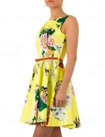 Дамска рокля в жълто с флорални мотиви и подвижно коланче