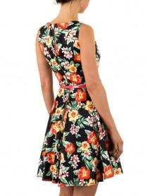 Дамска рокля в черно с флорални мотиви и подвижно коланче