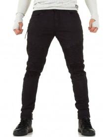 Мъжки черни дънки с протрити колене