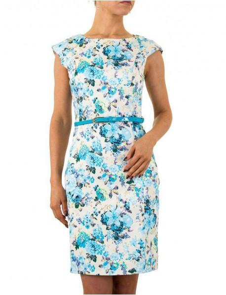 Дамска рокля в бяло с флорални мотиви и подвижно коланче