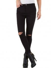 Черни дамски дънки  с протрити колене