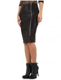Дамска пола с цип от еко кожа