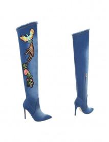 Дамски чизми denim с цветен акцент Sergio Todzi