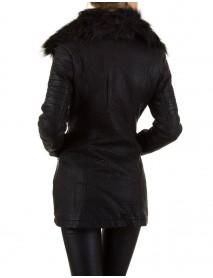 Дамско дълго яке от еко кожа