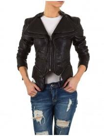 Късо черно  яке с ципове от еко кожа