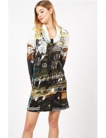 Ежедневна дамска туника-рокля-cowl