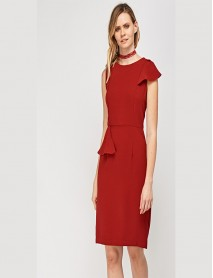 Дамска рокля по тялото в червено