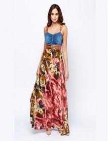 Дамска дълга рокля с акцент деним