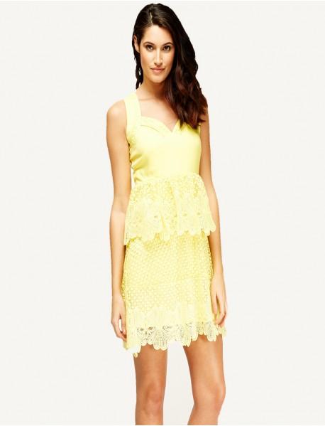 Дамска рокля пеплум в жълто