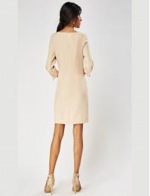 Дамска рокля в бяло с 3/4 ръкав