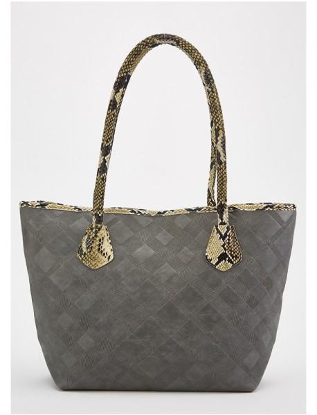 Дамска чанта от еко кожа със змийски мотиви