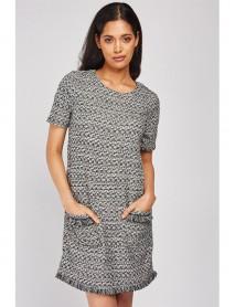 Дамска рокля от плетиво в сив цвят