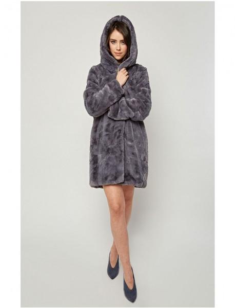 Дамско плюшено палто в сиво с качулка