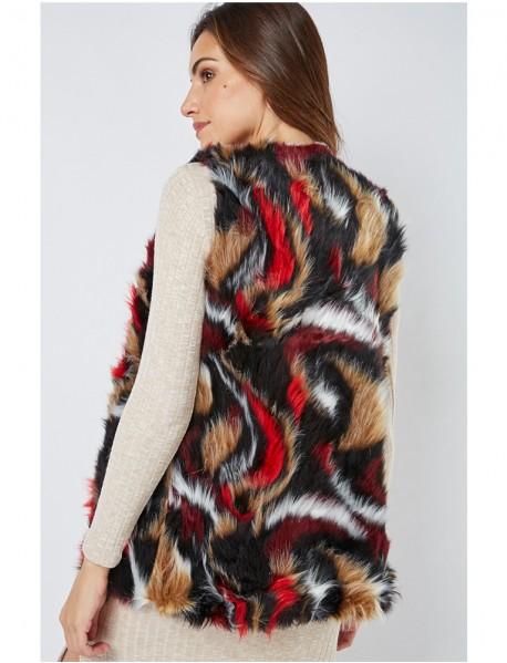 Дамски елек от изкуствен косъм с цветни принтове