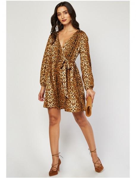 Актуална дамска рокля от животински принт (Леопард)