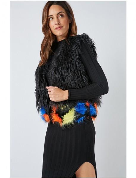 Дамски елек от изкуствен косъм с цветни акценти